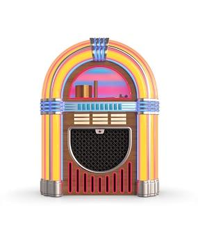 흰색 배경에 고립 된 레트로 주크 박스 라디오