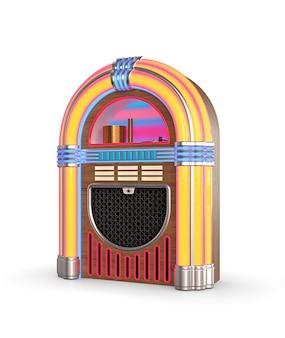 Retro jukebox radio isolated on white background