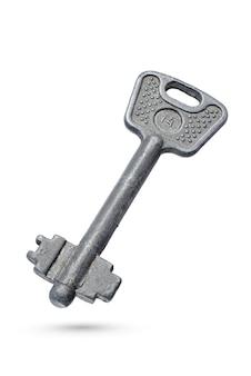Ретро ключ. старый ржавый ключ рычага, изолированные на белой поверхности с обтравочным контуром