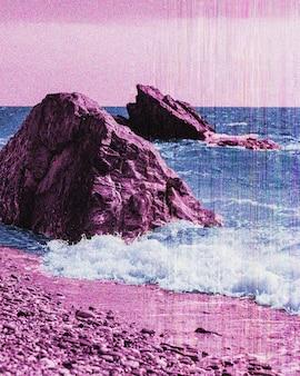 Retro landscape in vaporwave style