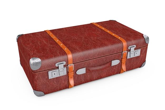 금속 모서리와 벨트 흰색 배경에 레트로 가죽 갈색 threadbare 가방. 3d 렌더링