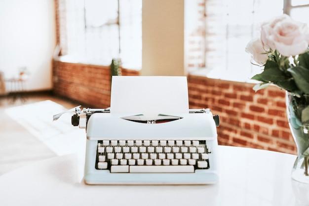 Retro light blue pastel typewriter