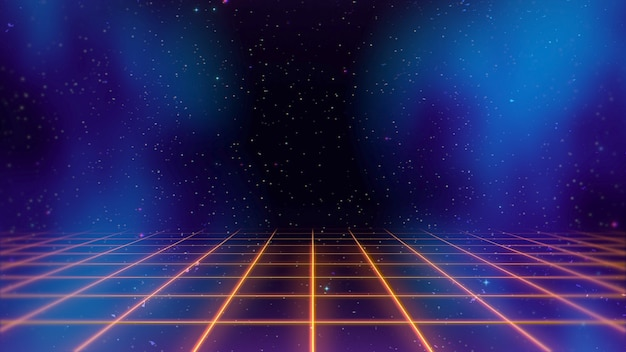 Retro lines and grid in space, abstract background. elegant and luxury 80s, 90s style 3d illustration
