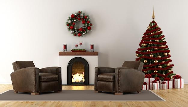 クリスマスの装飾が施されたレトロなリビングルーム
