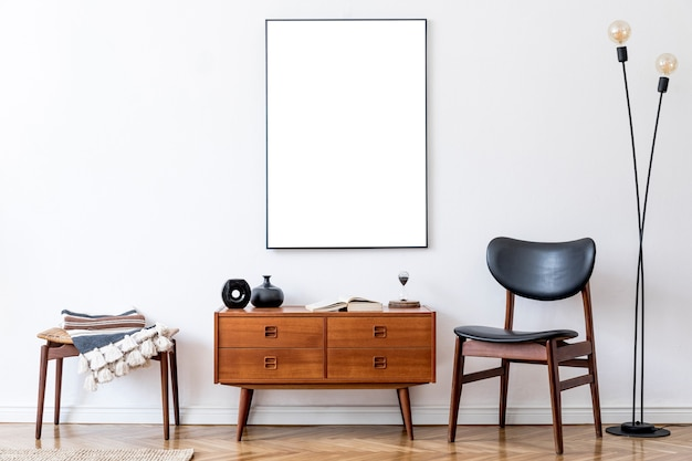 Retro living room with design vintage wooden commode mock up poster frame on the wall template