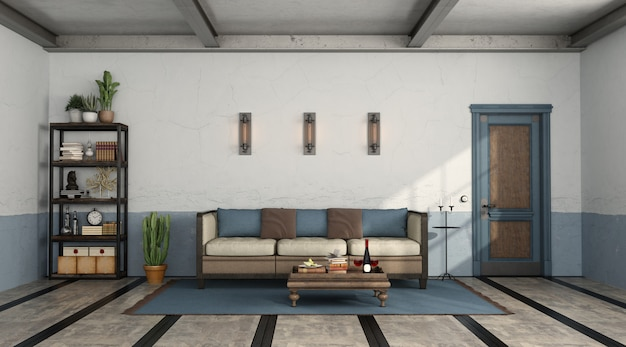 Retro living room with old sofa and closed door