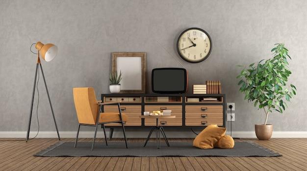 ビンテージサイドボードに古いテレビとレトロなリビングルーム