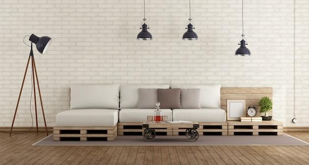 パレットソファ付きのレトロなリビングルーム