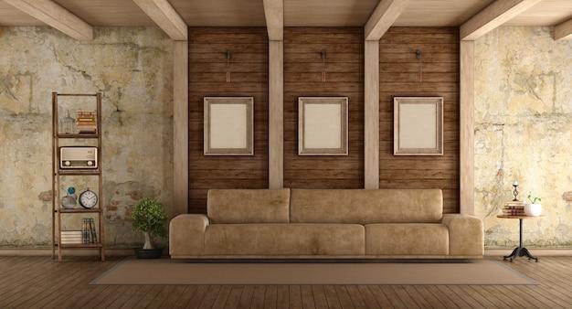 Retro living room with sofa