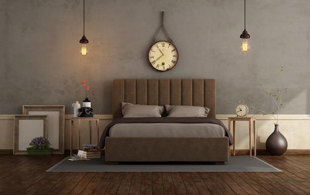 ダブルベッド付きのレトロなマスターベッドルーム