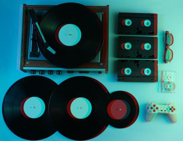 Retro media and entertainment items 80s. glitch effect