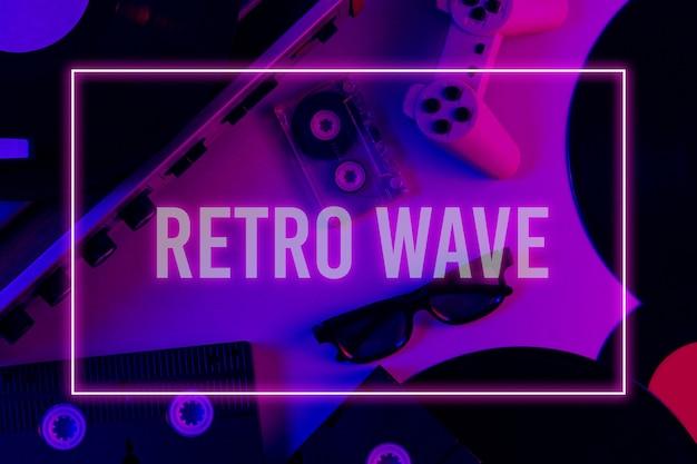 Retro media and entertainment items 80s. vinyl player, video, audio cassettes, 3d glasses, gamepad