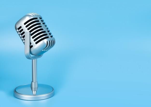 Retro microphone on blue