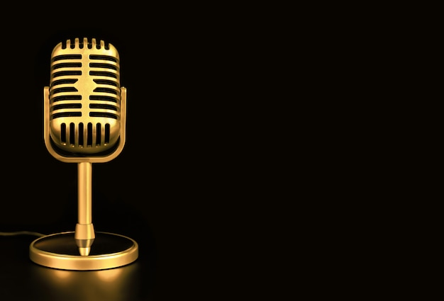 Retro microphone of gold