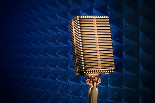 青いスタジオの背景にスタンドのレトロなマイク。