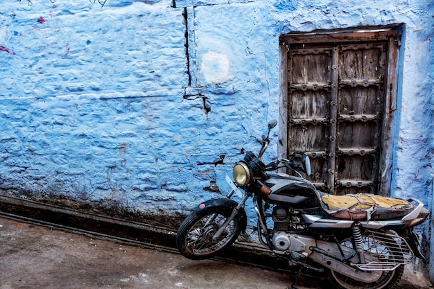 Retro motorbike in blue city, jodhpur india