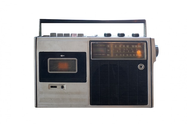 Retro outdated portable stereo boombox radio cassette recorder from 80s