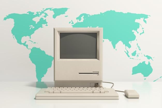 Ретро персональный компьютер. системный блок, монитор, клавиатура и мышь перед картой мира на белом фоне. 3d рендеринг