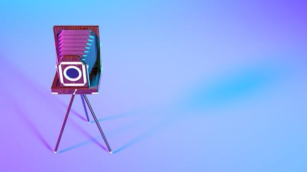 Ретро фотоаппарат в фиолетовом неоновом освещении крупным планом, 3d иллюстрация