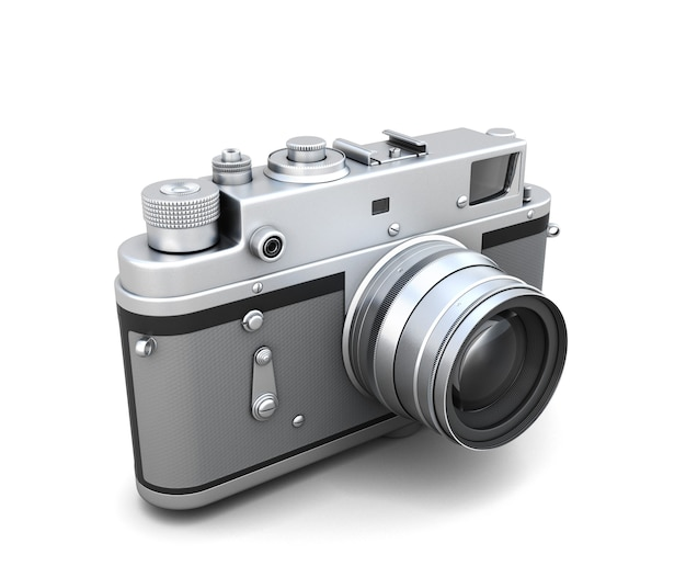 레트로 사진 카메라 흰색 배경에 고립입니다. 3d 그림.