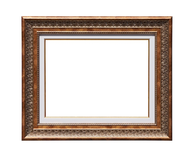 Retro picture photo frame isolated on white background