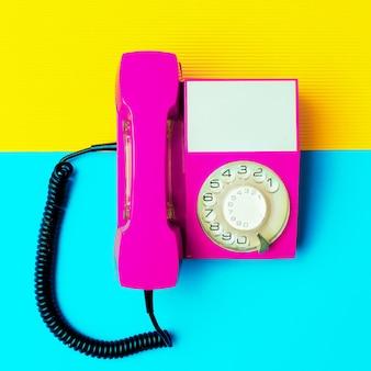 Retro pink phone. minimal design art