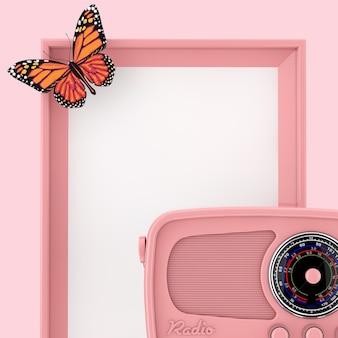 분홍색 배경에 나비와 함께 빈 분홍색 사진 프레임 앞의 레트로 핑크 라디오. 3d 렌더링