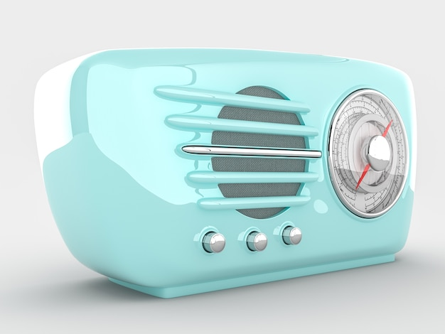 Retro radio device on white background. 3d realistic render
