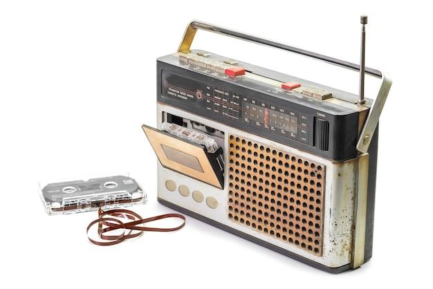 Retro radio with audio cassette tape isolated