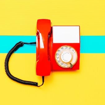 Retro red phone. minimal art design vintage vibes