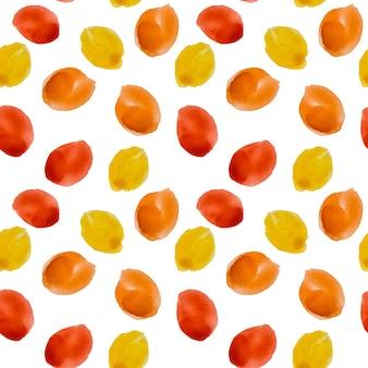 둥근 빨간색과 노란색 반점이 있는 복고풍의 매끄러운 패턴입니다. 화이트에가 배경입니다.