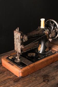 Retro sewing machine with thread