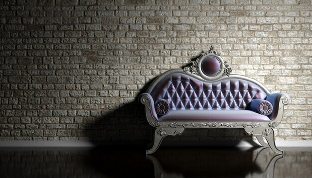 Retro sofa on the background of an old brick wall, 3d illustration