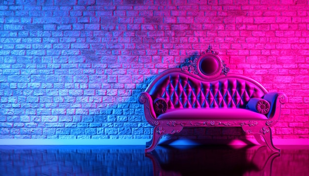 Retro sofa on the background of an old brick wall in the enon light, 3d illustration