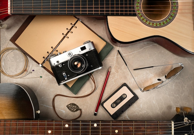 Retro still life of different subjects of desire in the past