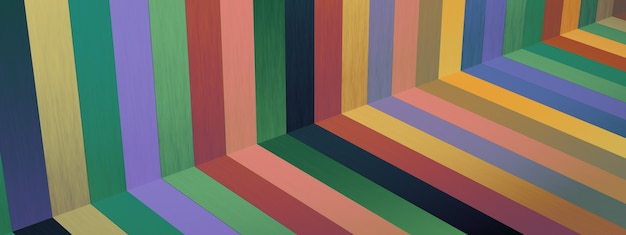 Retro stripe lines with bright colors, 3d render, panoramic image
