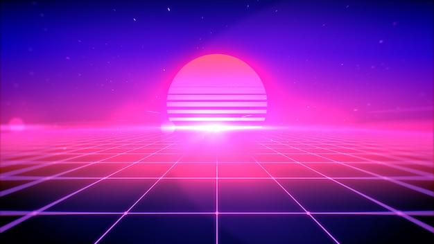태양, 공간 및 관점 그리드 조명 복고 스타일 추상적 인 배경