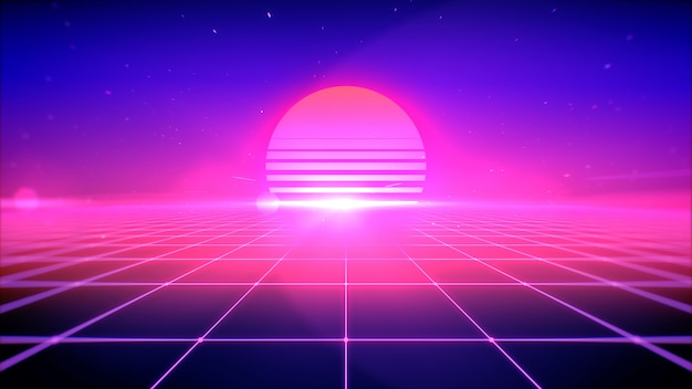 Retro style abstract background with sun, space and perspective grid lights