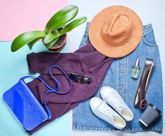 Аксессуары в стиле ретро с обувью и джинсовой юбкой