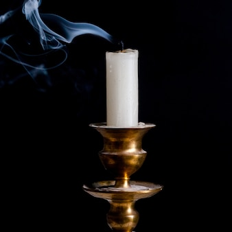 Retro style candle holder with lighted candle