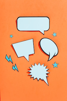 Retro style comic empty speech bubbles on bright background