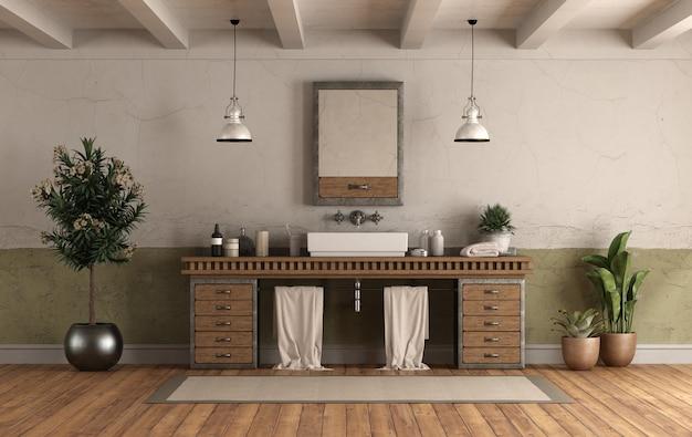 シンク付きのレトロなスタイルの家のバスルーム