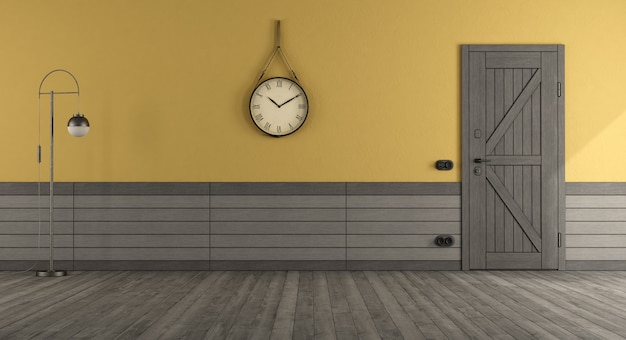 Retro style home entrance with front door , yellow wall and gray wooden paneling - 3d rendering