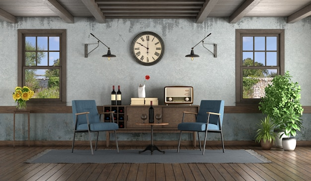 Retro style living room with armchairs, sideboard, and wooden windows