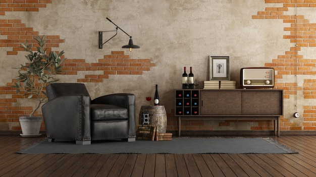 Retro style living room with a black leather armchair, wooden sideboard, and brick wall