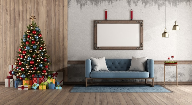 Retro style living room with christmas tree