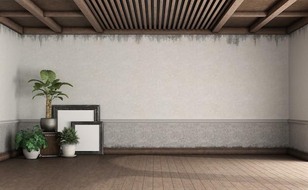 나무 바닥에 실내 화분 용 화초와 액자가있는 레트로 스타일의 거실