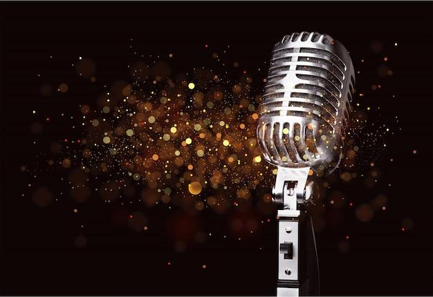 Микрофон в стиле ретро на фоне