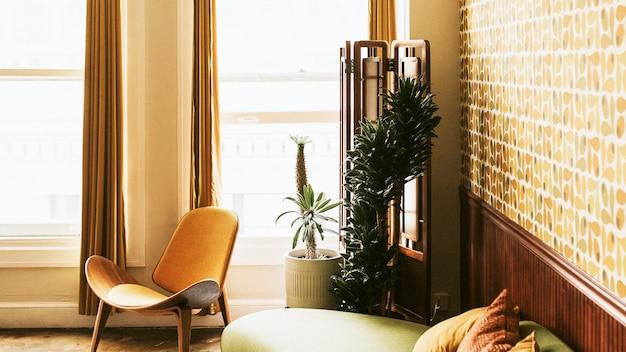 레트로 스타일의 미드 센츄리 모던한 장식의 아파트