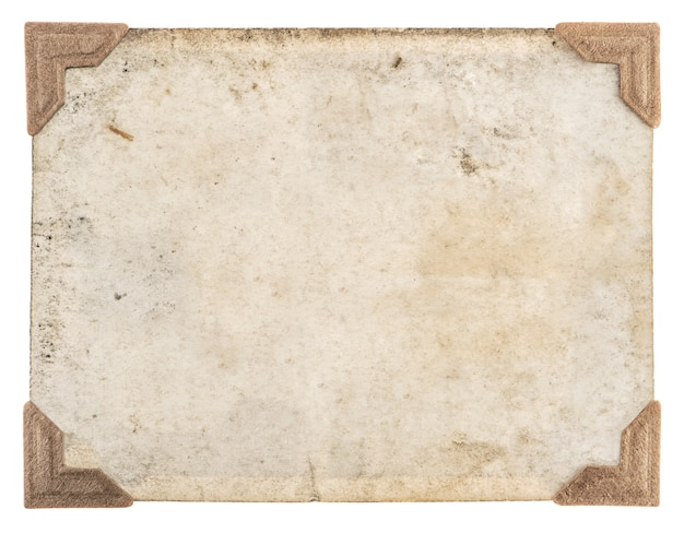 レトロなスタイルのフォトフレーム。白い背景で隔離の角を持つ古い写真カード
